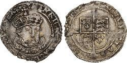 1 Groat Kingdom of England (927-1649,1660-1707) Silver Henry VIII (1491 - 1547)
