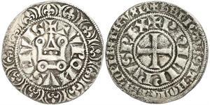 1 Gros Tournois Франкське королівство (843-1791) Срібло Філіп V Довгий (1292 - 1322)