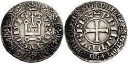 1 Gros Tournois 中世纪的法国 銀 腓力五世 (法兰西) (1292 - 1322)