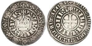 1 Gros Tournois Francia medioevale (843-1791) Argento Filippo V di Francia (1292 - 1322)