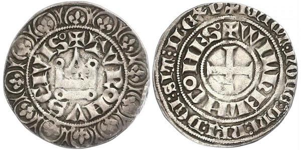1 Gros Tournois Reino de Francia (843-1791) Plata Felipe V de Francia (1292 - 1322)