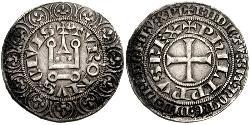 1 Gros Tournois Kingdom of France (843-1791) Silber Philipp V. (Frankreich) (1292 - 1322)
