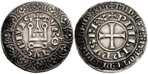 1 Gros Tournois Kingdom of France (843-1791) Silver Philip V of France (1292 - 1322)