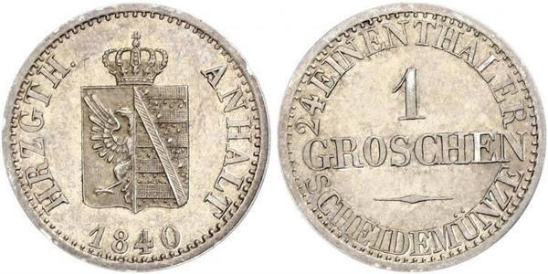 1 Groschen Ангальт-Бернбург (1603 - 1863) Серебро Александр Карл ,герцог Ангальт-Бернбурга,(1805 – 1863)