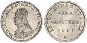 1 Groschen Пруссия (королевство) (1701-1918) Серебро Фридрих Вильгельм III, король Пруссии (1770 -1840)