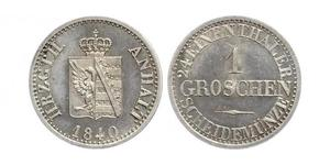 1 Groschen Ангальт-Бернбург (1603 - 1863) Срібло Alexander Karl, Duke of Anhalt-Bernburg (1805 – 1863)
