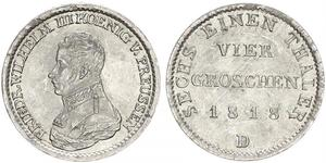 1 Groschen Reino de Prusia (1701-1918) Plata Federico Guillermo III de Prusia (1770 -1840)