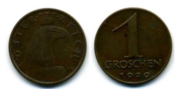 1 Grosh Geschichte Österreichs (1918-1934) Bronze