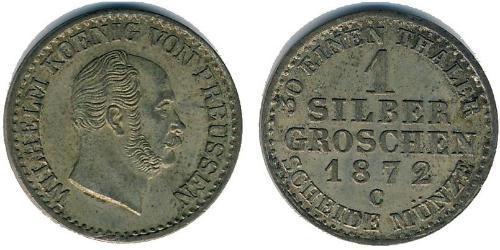 1 Grosh Reino de Prusia (1701-1918) Plata Wilhelm I, German Emperor (1797-1888)