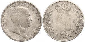 1 Gulden 巴登大公國 (1806 - 1918) 銀 路德维希一世 (巴登)