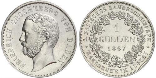 1 Gulden 巴登大公國 (1806 - 1918) 銀 弗里德里希一世 (巴登)