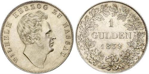 1 Gulden 拿骚公国 (1806 - 1866) 銀 威廉 (拿騷公爵)