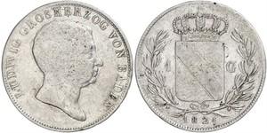 1 Gulden Grand Duchy of Baden (1806-1918) Argento Luigi I di Baden(1763 - 1830)