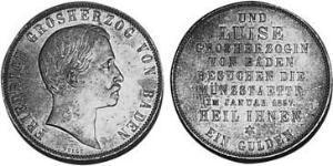 1 Gulden Grand Duchy of Baden (1806-1918) Argento Federico I di Baden (1826 - 1907)