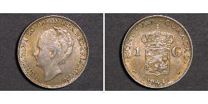 1 Gulden Regno dei Paesi Bassi (1815 - ) Argento Guglielmina dei Paesi Bassi(1880 - 1962)