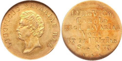 1 Gulden Königreich Bayern (1806 - 1918) Gold Ludwig I. (Bayern)(1786 – 1868)