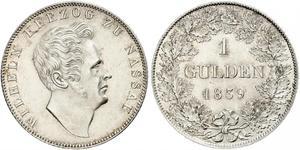 1 Gulden Ducado de Nassau (1806 - 1866) Plata Guillermo I de Nassau