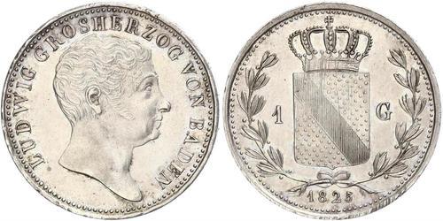 1 Gulden Gran Ducado de Baden (1806-1918) Plata Luis I de Baden(1763 - 1830)