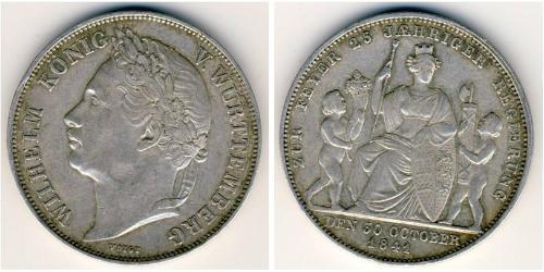 1 Gulden Reino de Wurtemberg (1806-1918) Plata Guillermo I de Wurtemberg