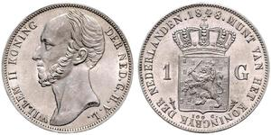 1 Gulden Reino de los Países Bajos (1815 - ) Plata Guillermo II de los Países Bajos (1792 - 1849)