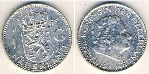 1 Gulden Reino de los Países Bajos (1815 - ) Plata Guillermina de los Países Bajos(1880 - 1962) / Juliana of the Netherlands (1909 – 2004)