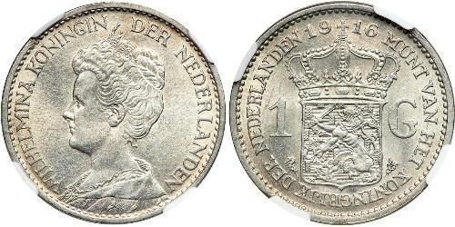 1 Gulden Reino de los Países Bajos (1815 - ) Plata Guillermina de los Países Bajos(1880 - 1962)