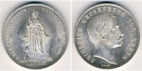 1 Gulden Grand Duchy of Baden (1806-1918) Silber