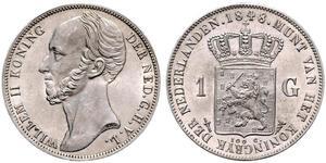 1 Gulden Königreich der Niederlande (1815 - ) Silber Wilhelm II. (Niederlande) (1792 - 1849)