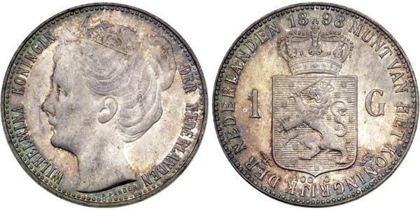 1 Gulden Königreich der Niederlande (1815 - ) Silber Wilhelmina (Niederlande)(1880 - 1962)