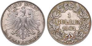 1 Gulden Free City of Frankfurt Silver