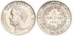 1 Gulden Grand Duchy of Baden (1806-1918) Silver Frederick I, Grand Duke of Baden (1826 - 1907)