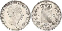 1 Gulden Grand Duchy of Baden (1806-1918) Silver Louis I, Grand Duke of Baden (1763 - 1830)