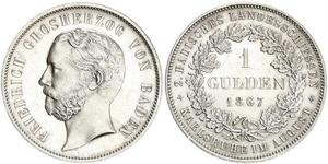 1 Gulden Grand Duchy of Baden (1806-1918) Silver Frederick I, Grand Duke of Baden (1826 - 1907)