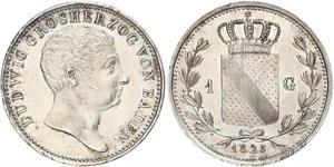 1 Gulden Grand Duchy of Baden (1806-1918) Silver Louis I, Grand Duke of Baden (1763 - 1830)