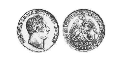 1 Gulden Grand Duchy of Baden (1806-1918) Silver Leopold, Grand Duke of Baden (1790 – 1852)