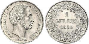 1 Gulden Kingdom of Bavaria (1806 - 1918) Silver Maximilian II of Bavaria (1811 - 1864)