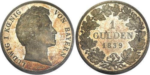 1 Gulden Kingdom of Bavaria (1806 - 1918) Silver Ludwig I of Bavaria (1786 – 1868)
