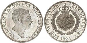 1 Gulden Kingdom of Württemberg (1806-1918) Silver William I of Württemberg