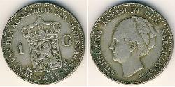 1 Gulden Kingdom of the Netherlands (1815 - ) Silver Wilhelmina of the Netherlands (1880 - 1962)