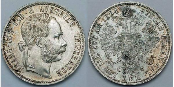 1 Gulden / 1 Florin 奥匈帝国 (1867 - 1918) 銀 弗朗茨·约瑟夫一世 (1830 - 1916)