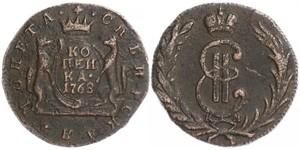 1 Kopeck 俄罗斯帝国 (1721 - 1917) 銅 叶卡捷琳娜二世 (1729-1796)