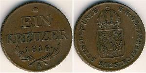 1 Kreuzer 奧地利帝國 (1804 - 1867) 銅 弗朗茨二世 (神圣罗马帝国) (1768 - 1835)