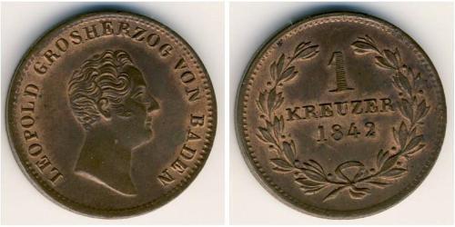 1 Kreuzer Gran Ducado de Baden (1806-1918) Cobre