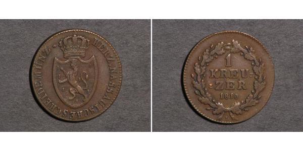 1 Kreuzer Duchy of Nassau (1806 - 1866) Copper