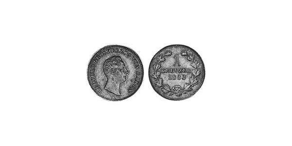1 Kreuzer Grand Duchy of Baden (1806-1918) Copper Leopold, Grand Duke of Baden (1790 – 1852)