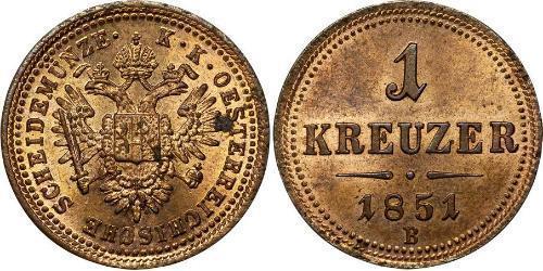 1 Kreuzer Kaisertum Österreich (1804-1867) Kupfer Franz Joseph I (1830 - 1916)