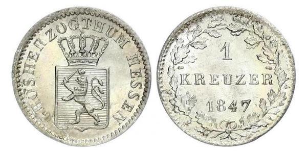 1 Kreuzer Hesse-Darmstadt (1806 - 1918) Plata Luis II de Hesse-Darmstadt