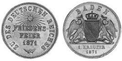 1 Kreuzer Grand Duchy of Baden (1806-1918) Rame Federico I di Baden (1826 - 1907)