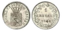 1 Kreuzer Grand Duchy of Hesse (1806 - 1918) Silver Louis II, Grand Duke of Hesse