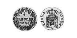 1 Kreuzer Kingdom of Bavaria (1806 - 1918) Silver Ludwig I of Bavaria (1786 – 1868)